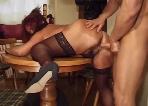 Mature mom gets hard fucked by stud on table