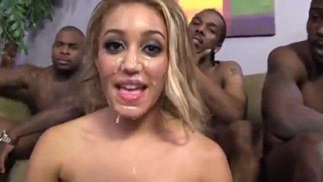 Blonde Latina interracial dp gangbang with bbc's