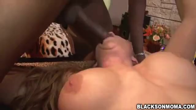Premium white mom Janet Mason in interracial gangbang