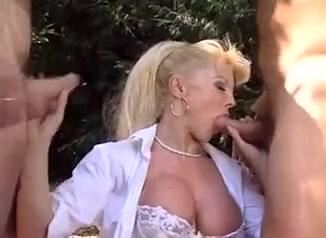 Sexy italian nurse milf gets by two studs
