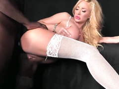 Blonde wife with big tits serves big black cock