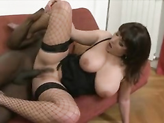 German white milf in lingerie takes black stud's cock