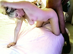 Busty blonde wife and a big black dick doggystyle fuck